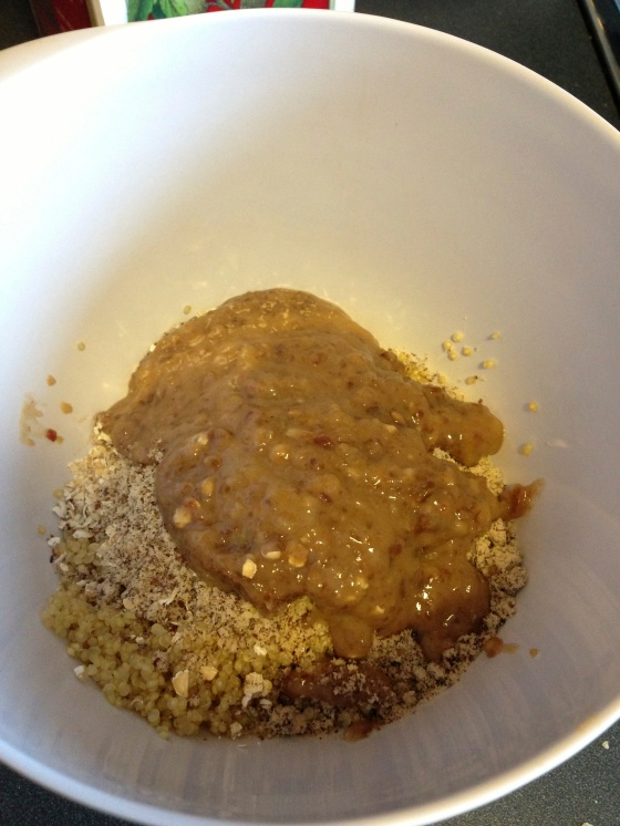 dry ingredients and date paste