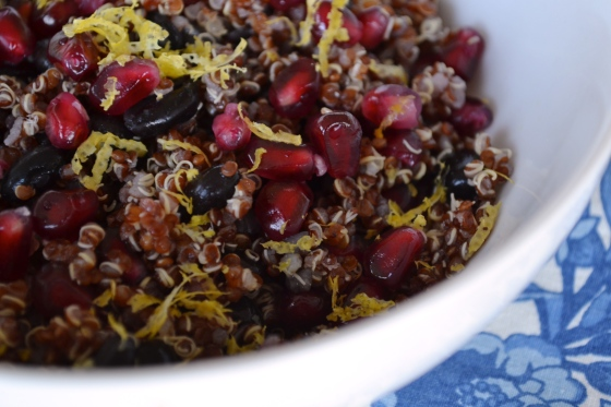 red quinoa pomegranate black bean salad