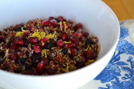 red quinoa pomegranate salad