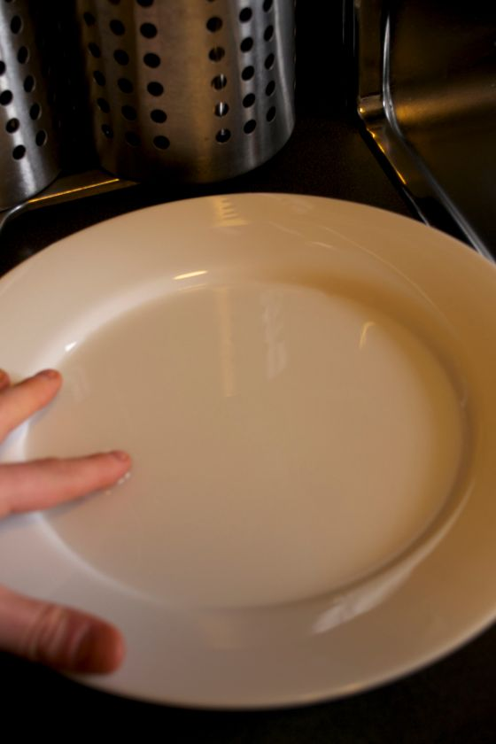 place water on a plate
