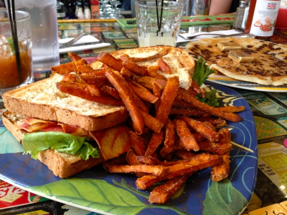 veggie blt and sweet potato fries